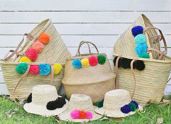 beach basket bag, beach hats, custom made beach baskets,
