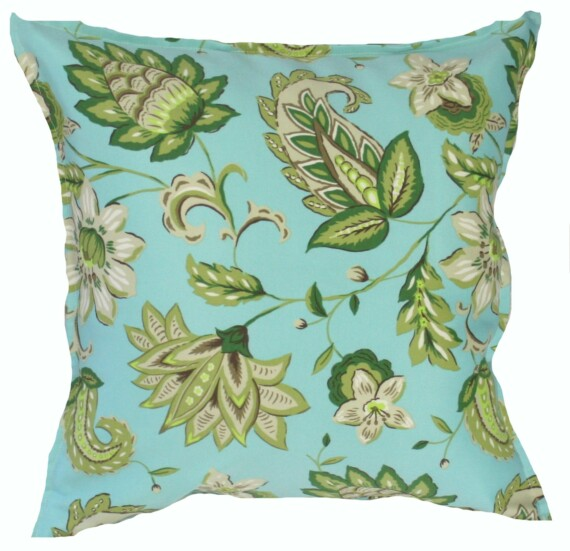 Aqua Green Floral Indoor Outdoor Cushion Bungalow Living