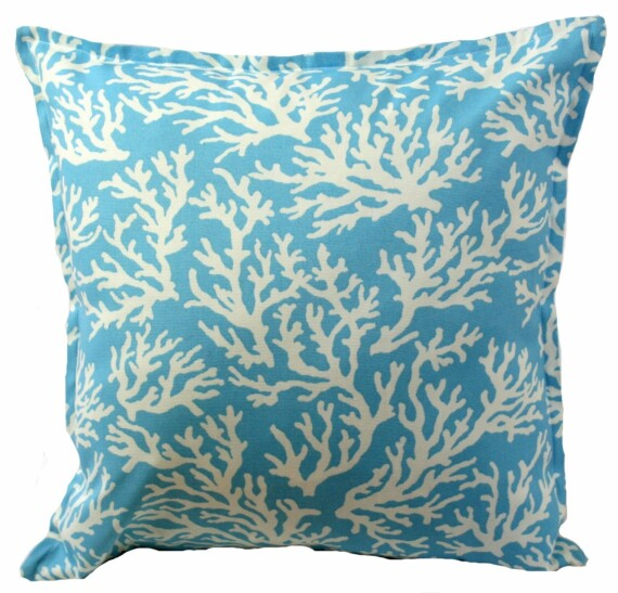 Aqua Coral Indoor Outdoor Cushion Bungalow Living