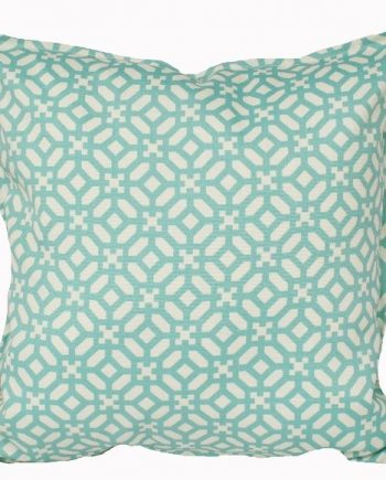 Aqua and Ivory Geometric Indoor Outdoor Cushion Bungalow Living