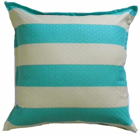 Aqua Stripe Indoor Outdoor Cushion Bungalow Living