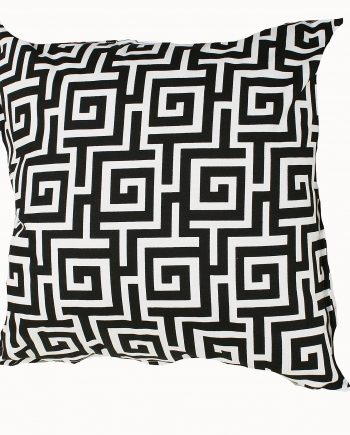 Black and White Greek Key Indoor Outdoor Cushion Bungalow Living