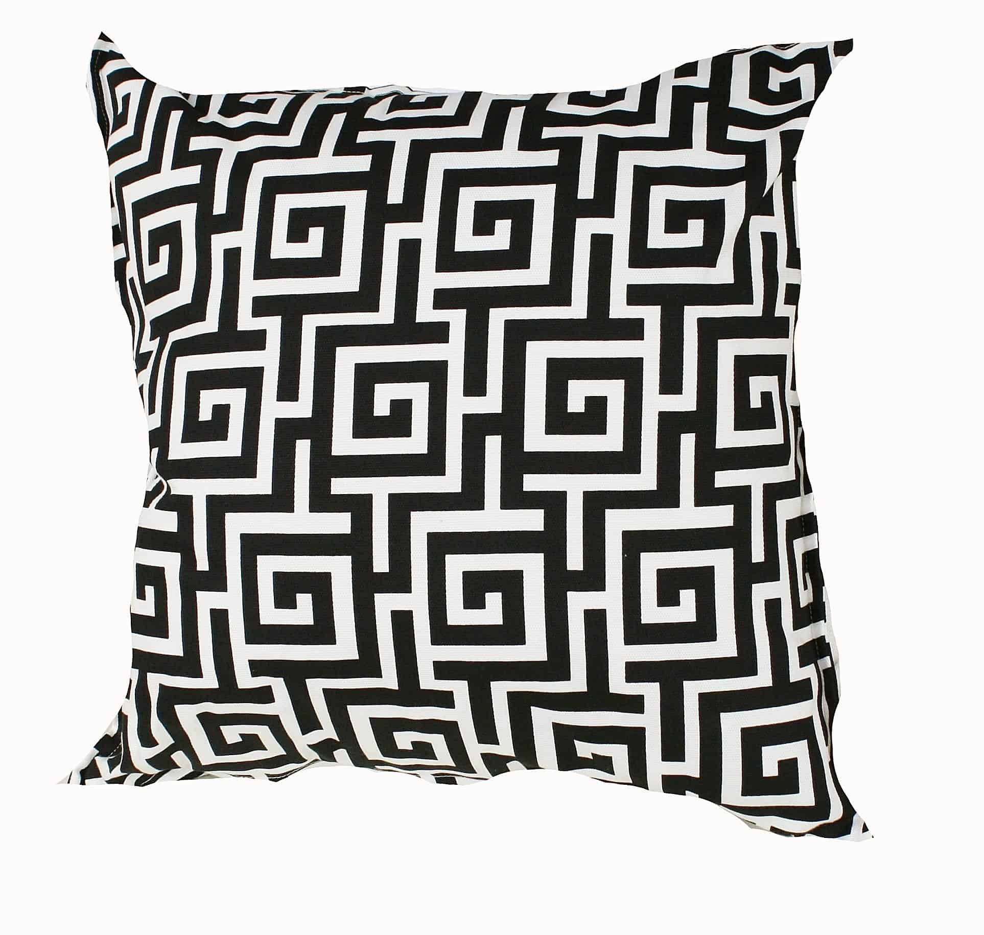 Black and White Greek Key Indoor Outdoor Cushion Cover