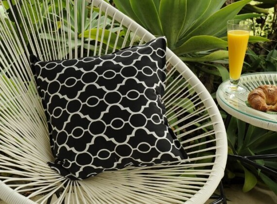 Black and White Lattice Indoor Outdoor Cushion Bungalow Living