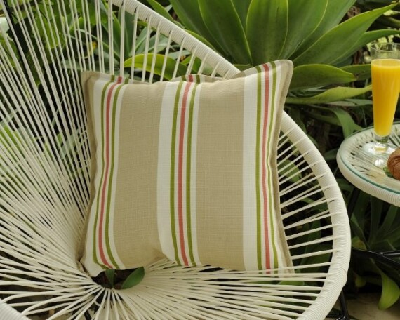Beige Stripe Indoor Outdoor Cushion Bungalow Living