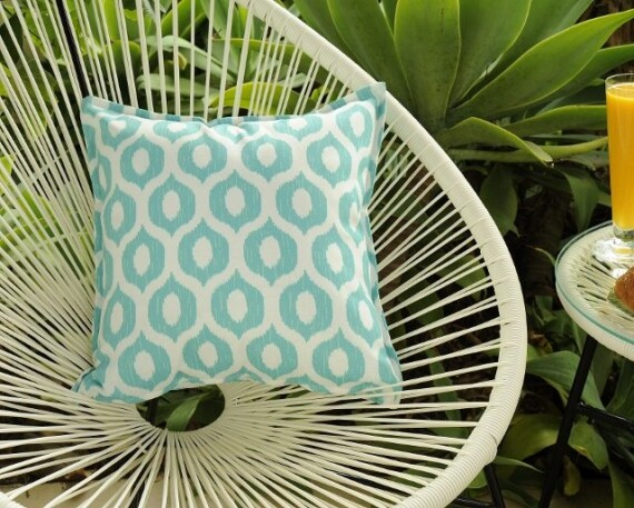 Aqua Stamp Indoor Outdoor Cushion Bungalow Living