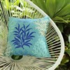 Aqua and Blue Coral Indoor Outdoor Cushion Bungalow Living