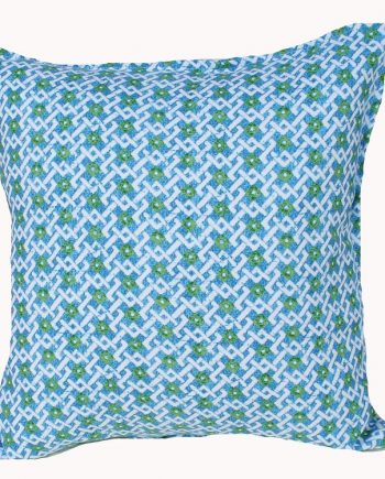 Blue Green Lattice Indoor Outdoor Cushion Bungalow Living