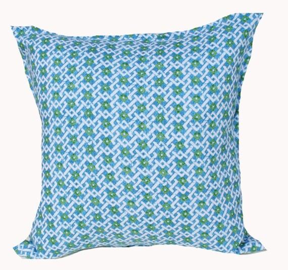 Blue Green Lattice Indoor Outdoor Cushion Bungalow Living