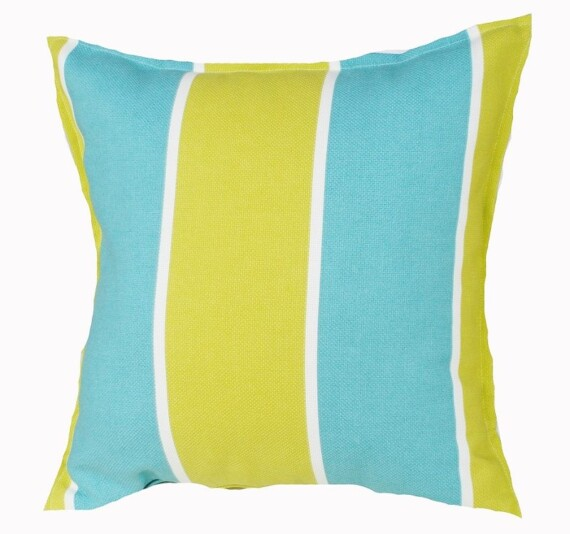 Aqua and Lime Green Stripe Outdoor Indoor Cushion Bungalow Living