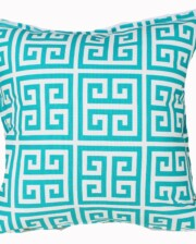 Teal Green Greek Key Indoor Outdoor Cushion Bungalow Living