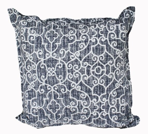 Indigo Scrolls Indoor Outdoor Cushion Cover Bungalow Living