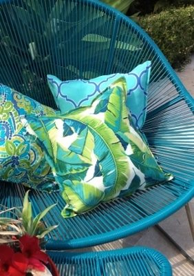 Aqua and Blue Fretwork Indoor Outdoor Cushion Bungalow Living