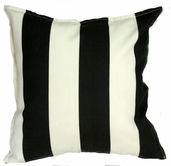 Black and Ivory Stripe Indoor Outdoor Cushion Bungalow Living