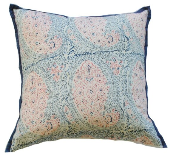 Blue and Pink Paisley Indoor Cushion Bungalow Living