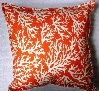 Coral Orange Indoor Outdoor Cushion Bungalow Living