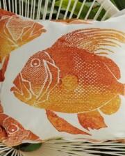 Orange Batik Fish Indoor Outdoor Cushion Bungalow Living