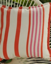 Orange and Pink Stripe Indoor Outdoor Cushion Bungalow Living