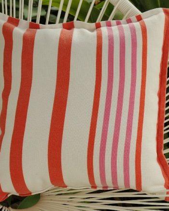Orange and Pink Stripe Indoor Outdoor Cushion Bungalow Living