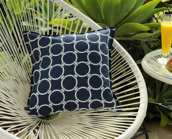 Navy and White Chains Indoor Outdoor Cushion Bungalow Living