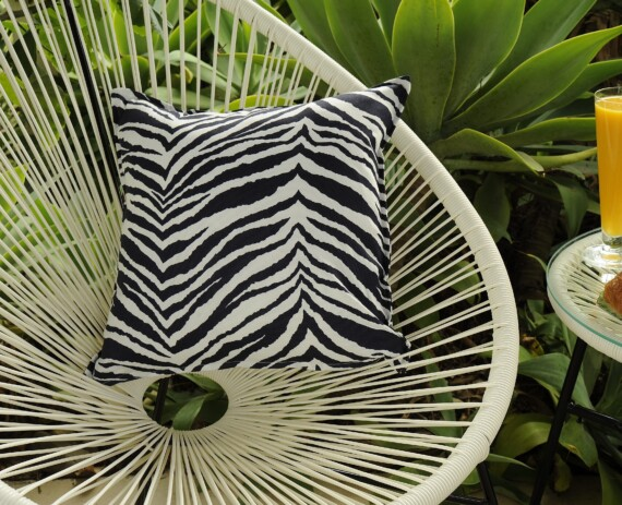Navy and White Zebra Indoor Outdoor Cushion Bungalow Living
