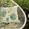 Aqua Floral Ikat Indoor Outdoor Cushion Bungalow Living