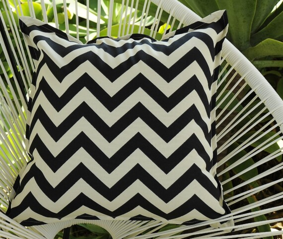 Black and Ivory Chevron Indoor Outdoor Cushion Bungalow Living