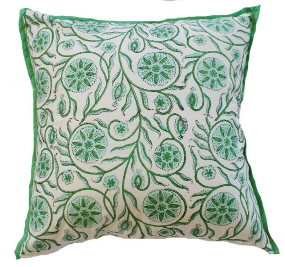 Green Aqua Floral Indoor Cushion Bungalow Living