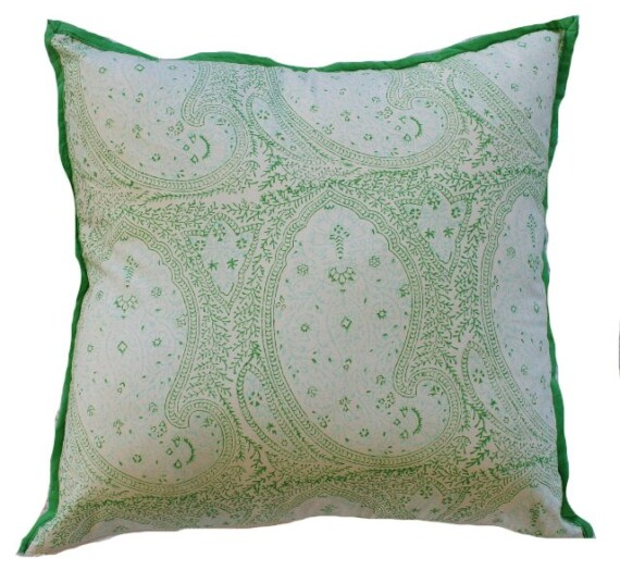 Green and Aqua Paisley Indoor Cushion Bungalow Living