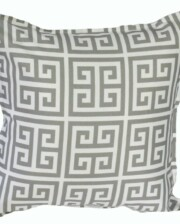 Grey Greek Key Indoor Outdoor Cushion Bungalow Living
