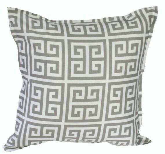 Grey Greek Key Indoor Outdoor Cushion