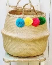 Pom Pom Belly Basket - Bungalow Living