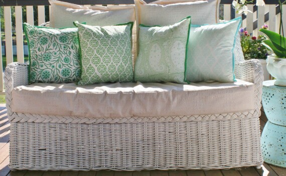 Green and Aqua Paisley Indoor Cushion Cover Bungalow Living
