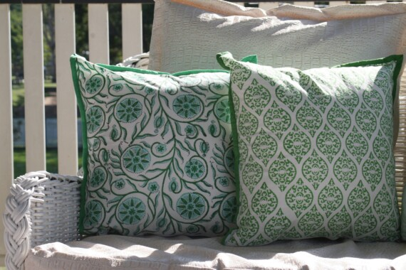 Green Block Print Indoor Cushion Cover Bungalow Living