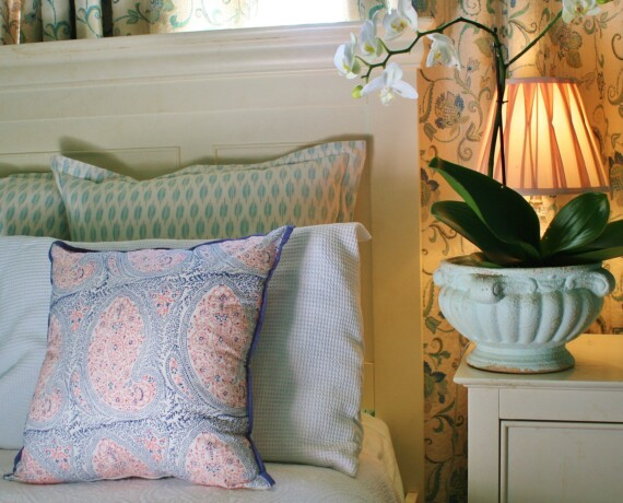 Pink and Blue Paisley Indoor Cushion Cover Bungalow Living