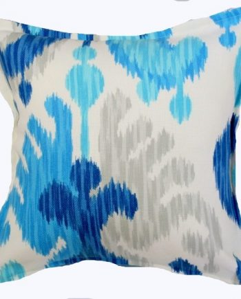 Sapphire and Silver Ikat Indoor Outdoor Cushion Bungalow Living Sapphire and Silver Ikat