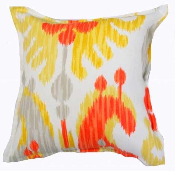 Silver Citrus Ikat Indoor Outdoor Cushion Bungalow Living