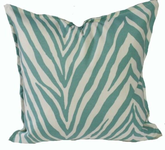Seafoam Zebra Indoor Outdoor Cushion Bungalow Living