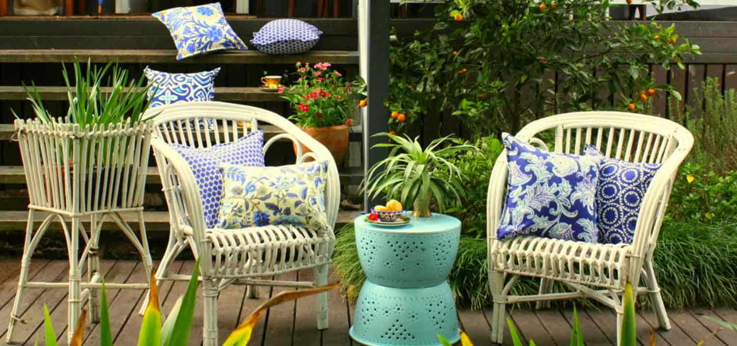 Blue Outdoor Cushions Bungalow Living