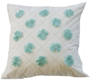 Aqua Pom Pom Indoor Cushion Cover