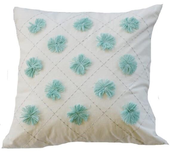 Aqua Pom Pom Indoor Cushion Cover
