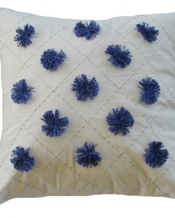 Blue Pom Pom Indoor Cushion Cover