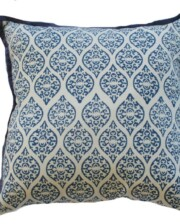 Blue Block Print Indoor Cushion Bungalow Living