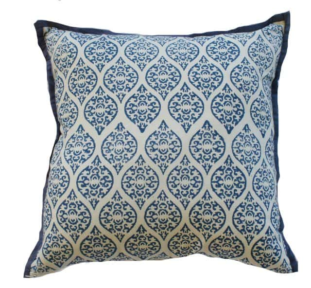Blue Block Print Indoor Cushion Cover