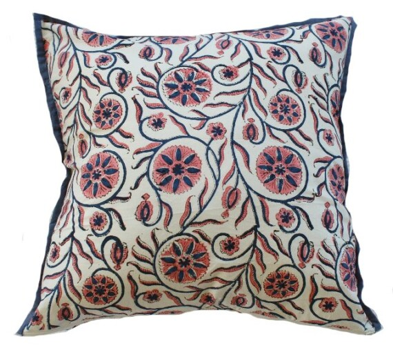 Blue and Pink Block Print Floral Indoor Cushion Bungalow Living
