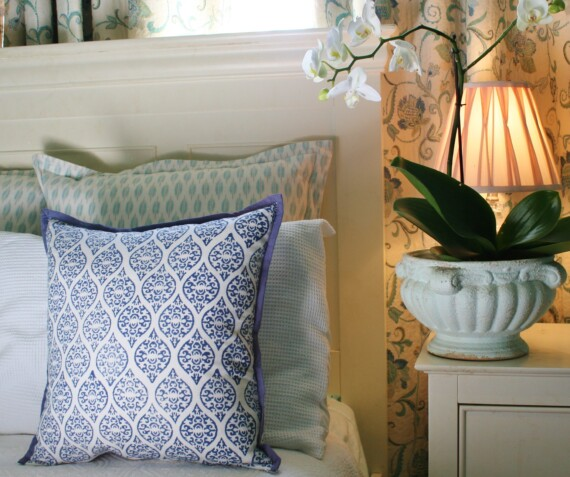Blue Block Print Indoor Cushion Bungalow Living
