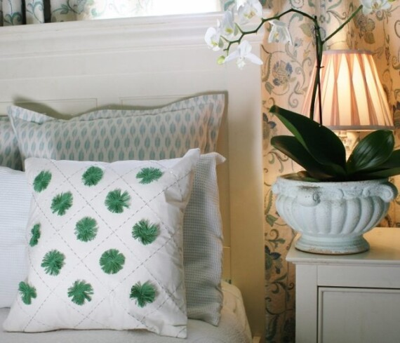 Green Pom Pom Indoor Cushion Cover