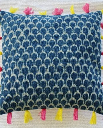 Blue Dhurrie Cushion with Pink and Yellow Tassels Bungalow Living