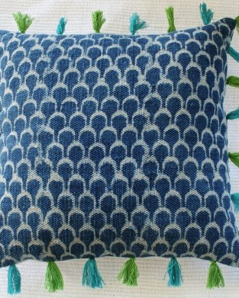 Blue Dhurrie Cushion with Aqua and Green Tassels Bungalow Living