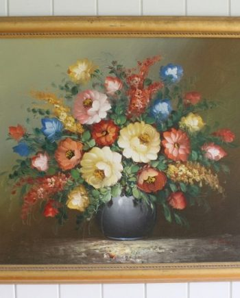 Vintage Floral Oil Painting Bungalow Living